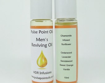 Mens anti ageing reviving oil, aftershave cologne, male massage skincare, skin protection aromatherapy infused oil, vegan gym bag essential.