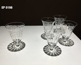 Set of five glasses, Etched