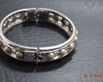 Vintage Rhinestone and Faux Pearl Cuff Bracelet