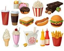 Fast Food Clipart  Hamburger Clip art Coffee clip art Food Vector graphic Food clip art Hotdog clipart popcorn clip art ice cream clipart