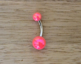 Bright Pink Metallic Shiny Balls Acrylic Belly Button Ring Navel Body Piercing Jewelry