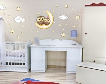 065 wall stickers OWL on Moon Star clouds sleeping baby wall decoration * nikima * in 6 verse. Sizes