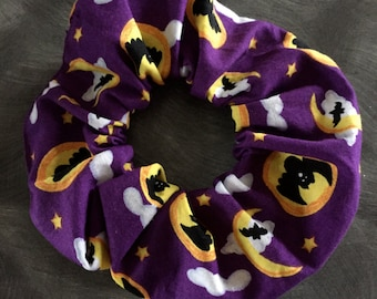 Halloween hair scrunchie Full Moon Bats