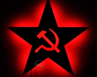 Lighted USSR Star Sign - Hammer and Sickle Star Wall Art - Soviet Russia USSR Star Wall Light