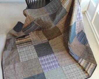 Woollen Patchwork Quilt - Tweed and Tartan Squares