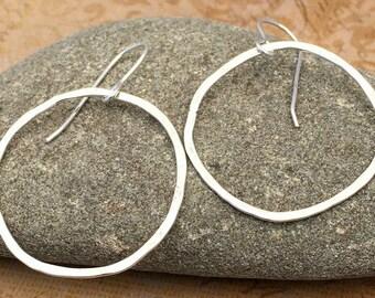 Classic Silver Hoop Earrings, Hammered Silver Hoops, Sterling Silver Hoop Earrings, Silversmith