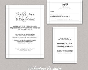 Classic Elegant Wedding Invitation Printable | White background | calligraphy / script | Save the Date |  RSVP