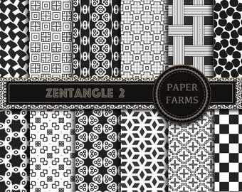 Black and white digital paper, Black and white scrapbooking paper, Zentangle digital paper, instant download, scrapbooking