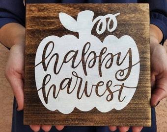 Happy Harvest Sign - fall, pumpkin, wood sign handpainted
