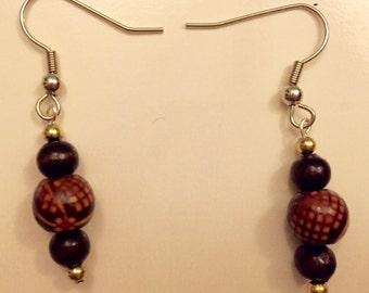 Handmade One of a Kind Black Wooden Earrings
