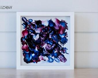 """Framed Ink on Glass 23cm x 23cm """"Dusk"""""""