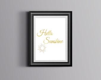 Hello Sunshine Gold Overlay Printable Wall Art
