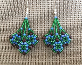 Native American Beaded Pebble Earrings in Green, Brown, Blue Seed Beads; Peyote Stitch Earrings; Indian Beaded Earrings; Women/Teen Girls