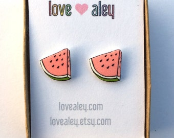 Watermelon Earrings cute Earrings rad earrings adorable stud earrings fruit earrings watermelon jewelry Gift for her christmas gift holiday