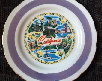 California Souvenir Plate with Lusterware Ring