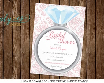 Bridal Shower Invitation, Diamond Ring, pink, vintage Edit yourself with Adobe Reader
