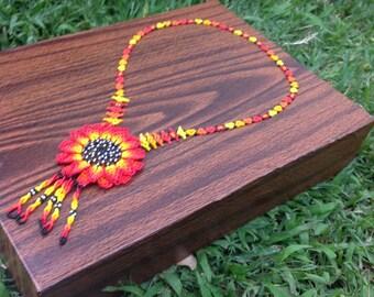 Handmade necklace style sunflower