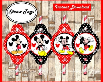Mickey Mouse Straw Tags, printable Mickey party Straw Tags, Mickey Mouse Straw toppers