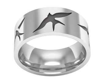 Flying Swallow Band Ring, Swallow Ring, Silver Band Ring, Bird Wedding Ring, Nature Ring, Bird Jewelry, Swallow Jewelry, Silver Wedding Ring