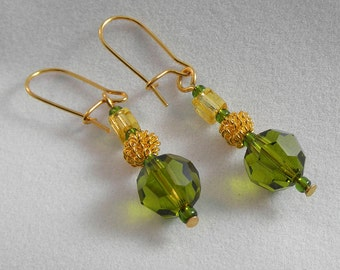 Gold earrings with olive green swarovski crystal