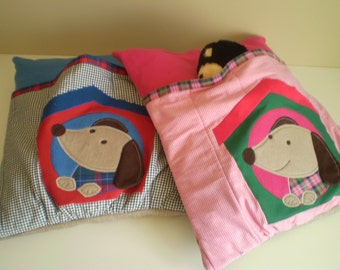 Dog Bed Quilted with Appliqued Dog and Kennel