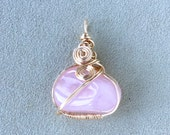 Rose Quartz 14kt Gold Filled Wire Wrapped Pendant, Rose Quartz Crystal Jewelry, Rose Quartz Pendant