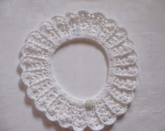 Crochet collar lace Peter Pan collar collar WHITE Microfiber crocheted selfmade