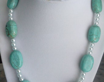 Pearl and Turquoise Magnasite Necklace