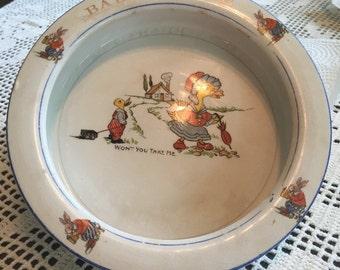 Antique child's porridge bowl