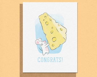Congrats Big Cheese Mouse Greeting Card