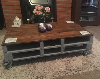 Pallet Coffee Table Upcycled Rustic Chalk Paint