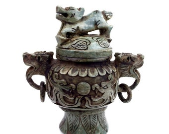 Carved Antique Dark Patinated Green Jade Stone Foo Dog Censer