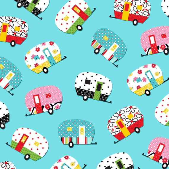 Aqua Tossed Campers - Quilt Camp Collection