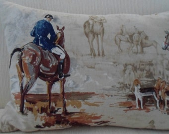 Exclusive BEACON HILL Pillow fox hunt equestrian toile  Ride to Hounds linen print