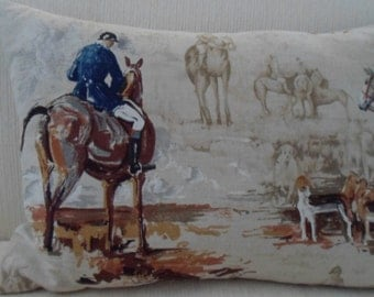 Exclusive BEACON HILL fox hunt equestrian toile linen print pillow