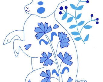 Blue Folk Rabbit Art Print, wall art, decor