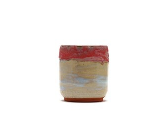 Hand Thrown Coral and Blue Tumbler