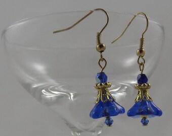 Cobalt and Gold Czech Glass Blown Flower Earrings