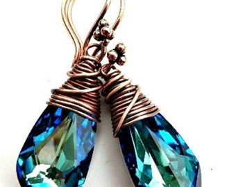 Bermuda Blue Swarovski® Crystal pendants with copper wire wrapping earrings.  Handmade. Boho, Bohemian, Wedding, Bridal, Victorian.
