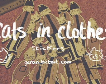 Cats In Clothes {sticker set}