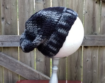 Men's Crochet Slouchy Beanie - Hat -Winter - Black Grey - Men's Gift