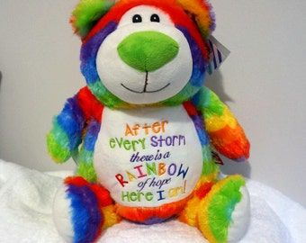 Personalised teddy, rainbow bear, rainbow baby gift, After every storm, there is a rainbow, teddy bear, miracle baby,pregnancy after loss