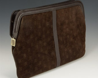 Lanvin clutch in dark brown suede 70's Deluxe original!