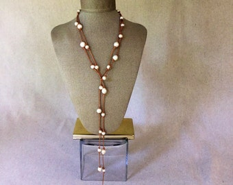 """Pearl and Leather Necklace - 60"""" Freshwater Pearl and Leather Strand"""