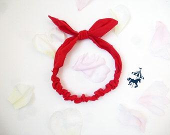 Headband baby / child Red satin