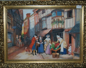 Painting in acrylic 18th century town scene