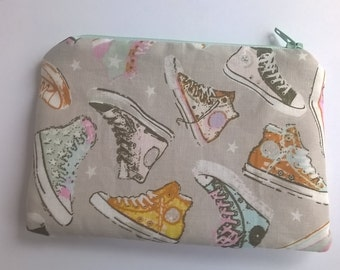 Coin purse, small makeup bag, cosmetics or accessories pouch in sneakers fabric, trainers fabric