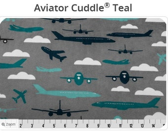 Teal Aviator Minky -Charcoal Aviator Minky - Aeroplanes Navy Minky - Shannon Fabrics -Airplane Minky - Airplane Fabric- Ships in 1-2 Days