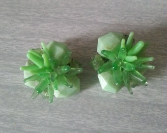 Vintage Green Clip-on Cluster Earrings