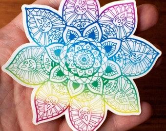 Rainbow Mandala hand drawn vinyl laminated sticker